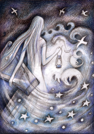 Woman with harp, stars and storm