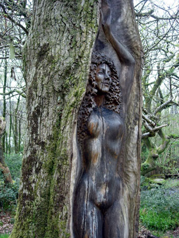 Tree woman carving Cae Mabon