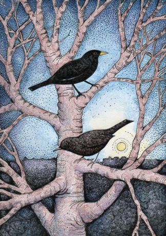 Blackbirds at Dusk