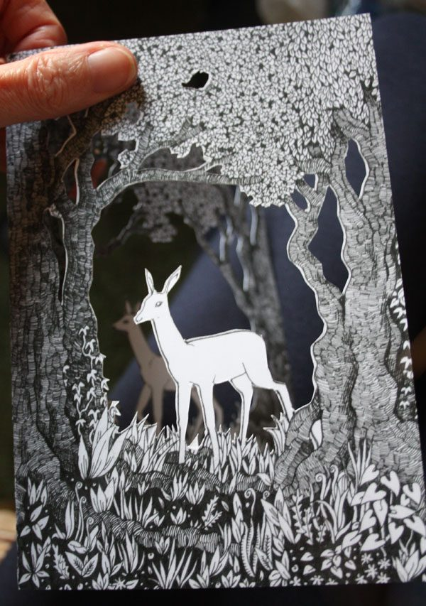 Page from printed papercut book