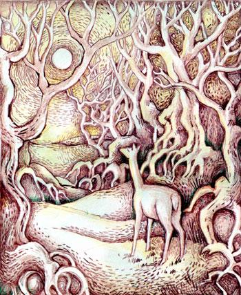 Winter scene with deer