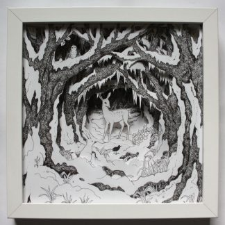 Deer in Snowy Glade Box Frame