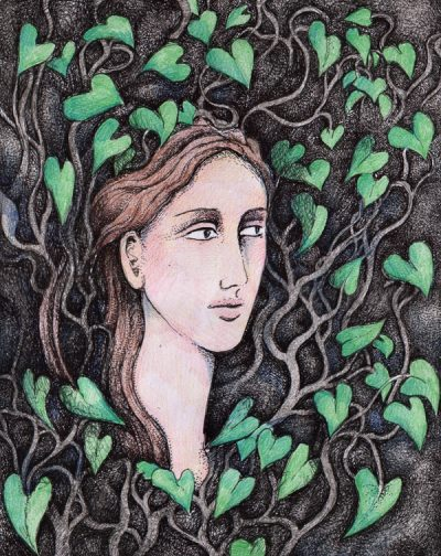 Hebe in the ivy leaves