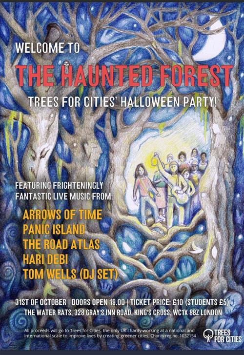 Halloween Poster for Trees for Cities Halloween party.