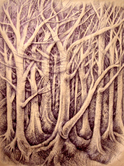 Forest on brown paper