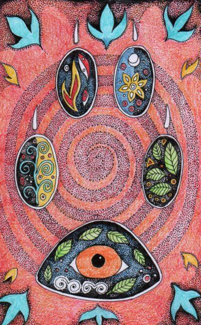 Fox Hamsa Paw Print