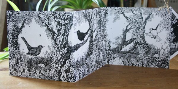 Owls and Blackbirds concertina Card