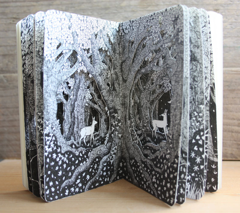 Two Deer Pocket Altered Book