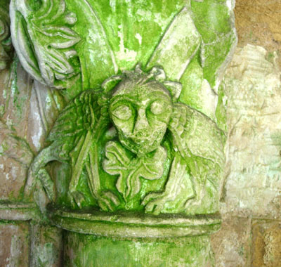 Green Man in Cathedral Cloisters in Coimbra
