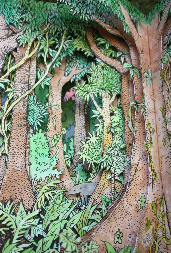 Rainforest altered book detail