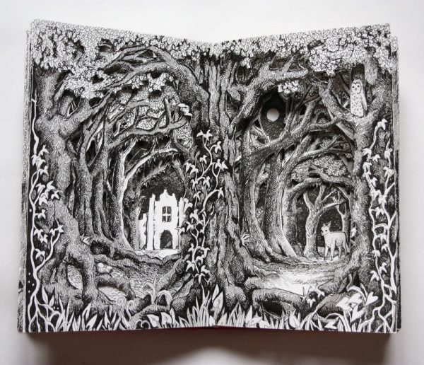 Ruin Through the Trees Altered Book