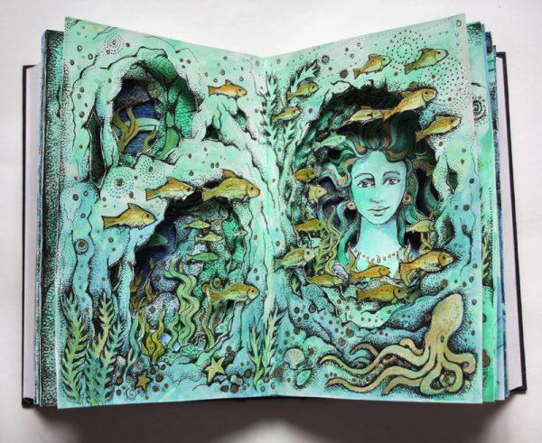 Sea Grotto Altered Book