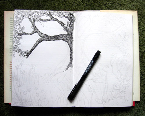 Image 5 Start of the Drawing in Pen.