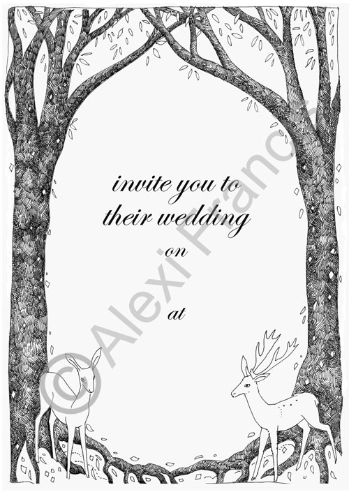 Two Deer Wedding Invitation