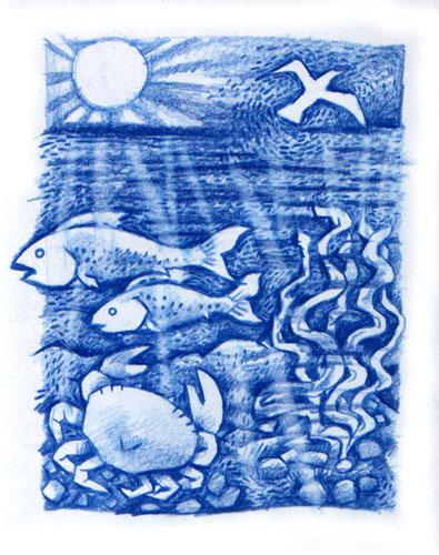 Beneath the waves t-shirt design